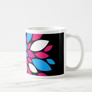 Hot Pink and Teal Flower Petals Art on Black Mug