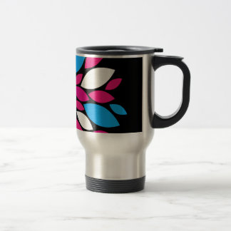 Hot Pink and Teal Flower Petals Art on Black Mugs
