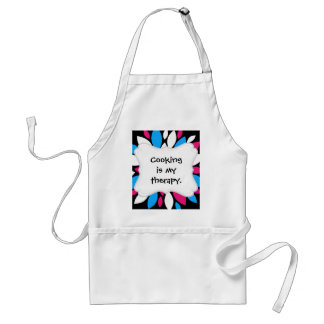 Hot Pink and Teal Flower Petals Art on Black Standard Apron