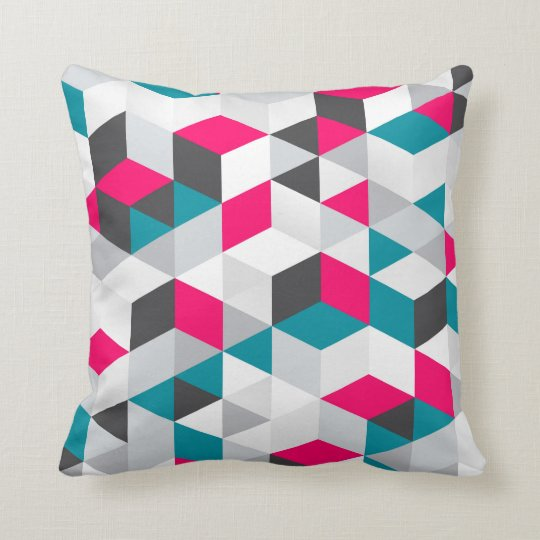 Hot Pink and Teal Geometric Pattern Cushion
