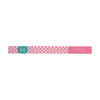 Hot Pink and Teal Polka Dots with Custom Monogram Wraparound Return Address Label