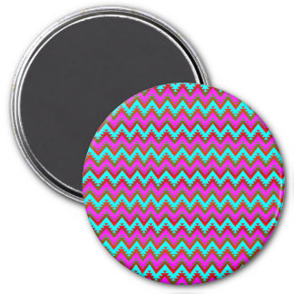 Hot Pink and Turquoise Aztec Chevron Stripes Magnet