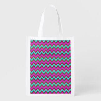 Hot Pink and Turquoise Aztec Chevron Stripes Reusable Grocery Bag