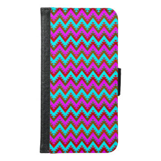 Hot Pink and Turquoise Aztec Chevron Stripes S6 Samsung Galaxy S6 Wallet Case