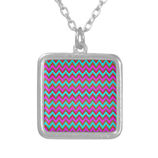 Hot Pink and Turquoise Aztec Chevron Stripes Silver Plated Necklace