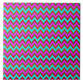 Hot Pink and Turquoise Aztec Chevron Stripes Tile