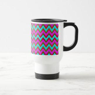 Hot Pink and Turquoise Aztec Chevron Stripes Travel Mug