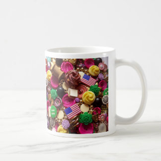 Hot Pink and Vintage Green Buttons Mug
