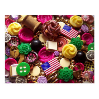 Hot Pink and Vintage Green Buttons Postcard