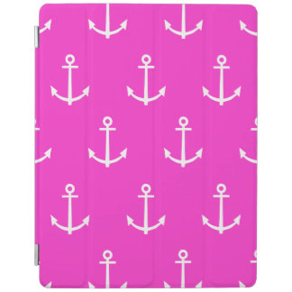 Hot Pink and White Anchors Pattern 1 iPad Cover