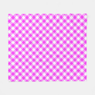 Hot Pink and White Buffalo Plaid Fleece Blanket