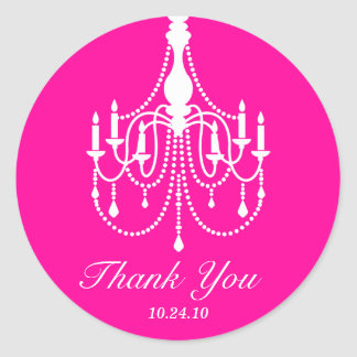Hot Pink and White Chandelier Thank You Round Sticker