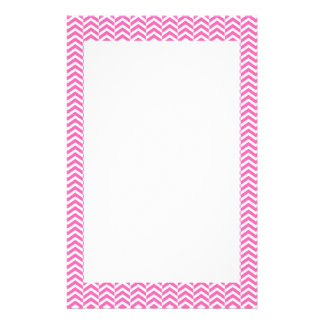 Hot Pink and White Chevron Pattern Customized Stationery