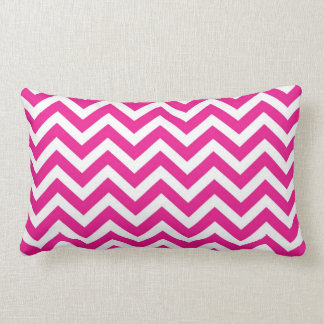 Hot Pink and White Chevron Pattern Lumbar Pillow