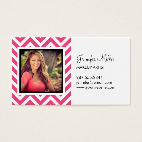 Hot Pink and White Chevron Photo Business Card