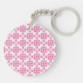 Hot Pink and White Damask Pattern Double-Sided Round Acrylic Key Ring