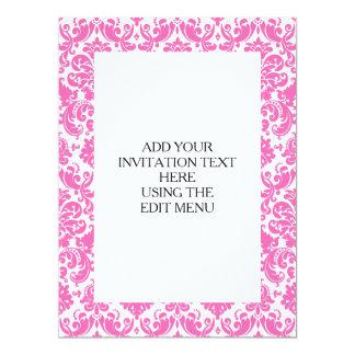 Hot Pink and White Elegant Damask Pattern 17 Cm X 22 Cm Invitation Card