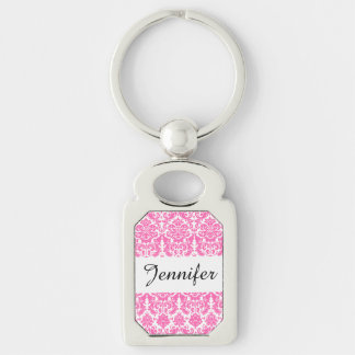 Hot Pink and White Elegant Damask Pattern Silver-Colored Rectangle Key Ring