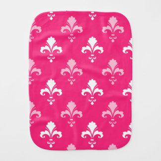 Hot Pink and White Fleur de lis Burp Cloths
