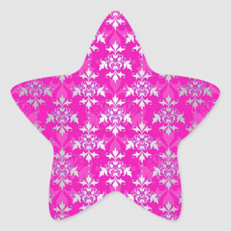 Hot Pink and White Floral Damask Pattern Star Sticker