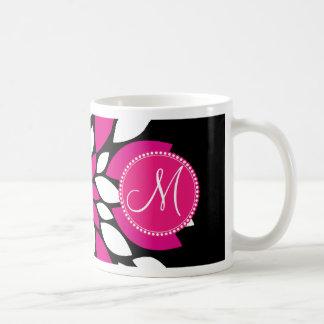 Hot Pink and White Flower Petals Art on Black Basic White Mug