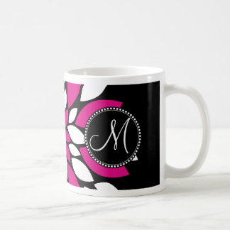 Hot Pink and White Flower Petals Art on Black Coffee Mug