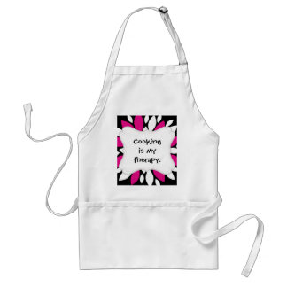 Hot Pink and White Flower Petals Art on Black Standard Apron