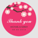 Hot Pink and White Flowers Wedding Favour Sticker