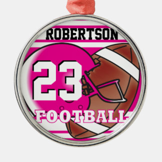 Hot Pink and White Football Silver-Colored Round Decoration