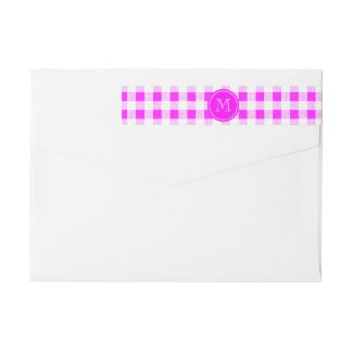 Hot Pink and White Gingham, Your Monogram Wrap Around Label
