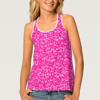 Hot Pink And White Glitter Pattern Tank Top