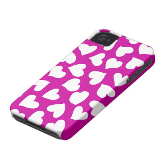 Hot Pink and White Hearts Pattern iPhone 4 Case