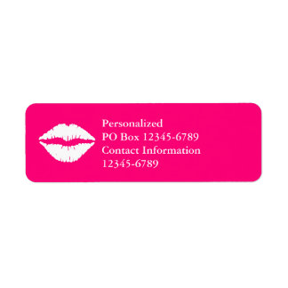 Hot Pink and White Lipstick Return Address Label