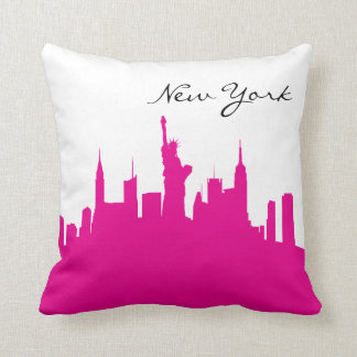 Hot Pink and White New York Skyline Cushion