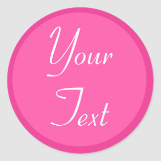 Hot Pink and White Personal Envelope Seals w/ Text Round Sticker