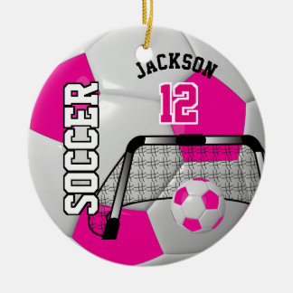 Hot Pink and White Personalize Soccer Ball Christmas Ornament