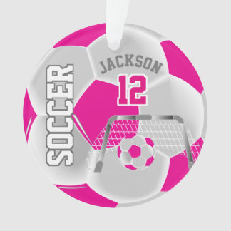 Hot Pink and White Personalize Soccer Ball Ornament