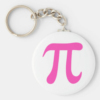 Hot pink and white pi symbol keychain or keyring