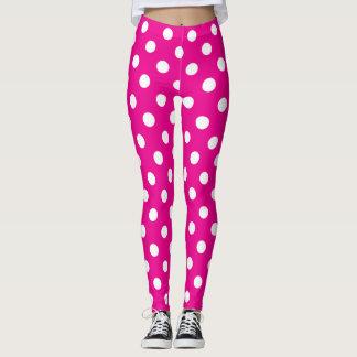 Hot Pink and White Polka Dot Leggings