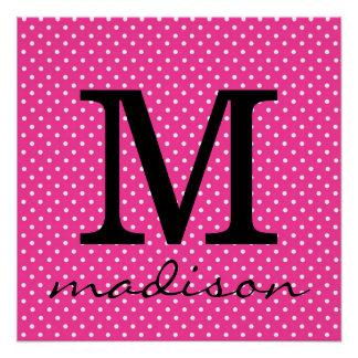 Hot Pink and White Polka Dot Monogram Print