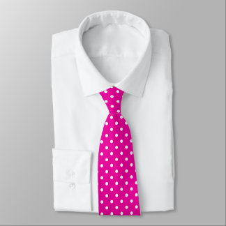 Hot Pink and White Polka Dot Necktie