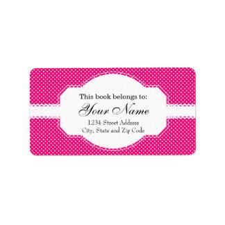 Hot Pink and White Polka Dot Pattern Address Label