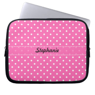 Hot Pink and White Polka Dot Pattern Laptop Sleeve