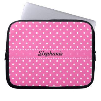 Hot Pink and White Polka Dot Pattern Laptop Sleeves