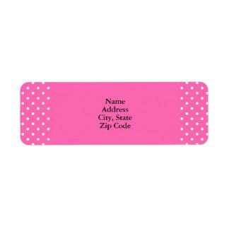 Hot Pink and White Polka Dot Pattern Return Address Label