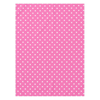 Hot Pink and White Polka Dot Pattern Tablecloth