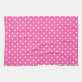 Hot Pink and White Polka Dot Pattern Tea Towel
