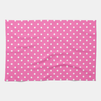 Hot Pink and White Polka Dot Pattern Tea Towels