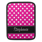 Hot Pink and White Polka Dots Personalised iPad Sleeve
