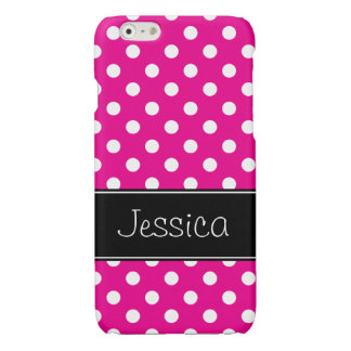 Hot Pink and White Polka Dots Personalized iPhone 6 Plus Case